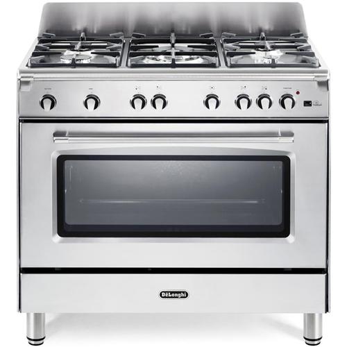 DE LONGHI Cucina Inox 90x60 cm 5 fuochi Forno a Gas Ventilato MGV965XX
